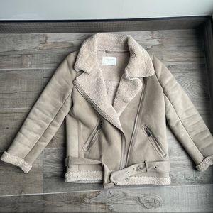 Zara cream faux shearling oversized biker jacket